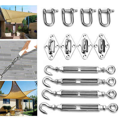 12pcs 8mm Stainless Steel Sun Shade Sail Accessory Kit Four Wall Fixing Mounting