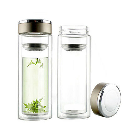 300ml Double Wall Glass Water Bottle Travel Car Bottle With Tea Infuser Strainer