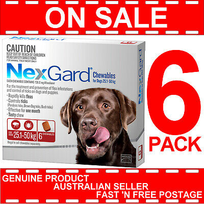 NexGard Chewables for Large Dogs Red 25.1-50kg 6 Pack