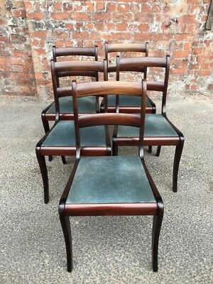 Five Antique Regency Style Mahogany Dining Chairs With Blue Velour Seats 5 Chair