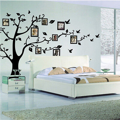 Large Family Photo Frame Tree Bird Quotes Wall Sticker Art Decals Home Decor