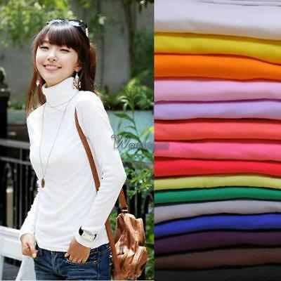 Winter Women Long Sleeve Turtleneck Solid Stretch T-Shirt Bottoming Tops WT88
