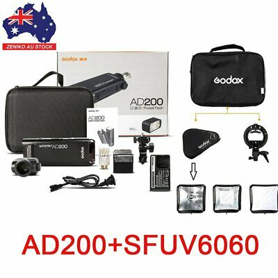 AU Godox 2.4G TTL HSS Two Heads AD200 Flash + S-Type Bracket & 60*60 softbox Kit