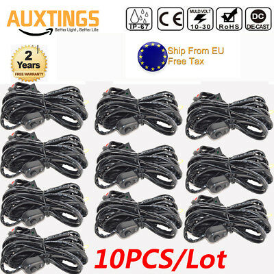 10X Wiring Harness Kit 40A 12V ON OFF Switch Relay Harness forLED Work Light Bar