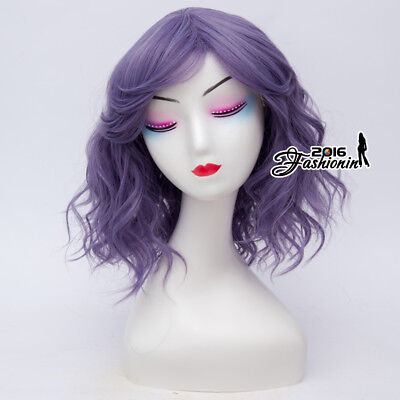 Gray Purple Lolita 35CM Medium Curly Women Cosplay Harajuku Party Wigs + Wig Cap