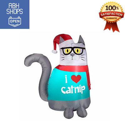 Light Up Airblown Inflatable Christmas Nerdy Cat Outdoor Christmas Holiday Decor 28 81 Picclick