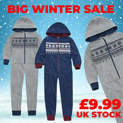 Onezee Boys Fair Isle Hooded Fleece All In One Jumpsuit Nightwear Kids Children