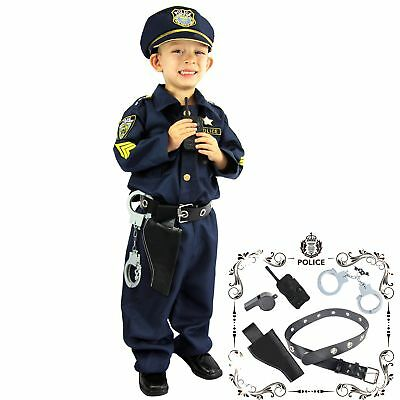Small Party Police Officer Costume w/ Walkie-Talkie Handcuffs Whistle For Kids