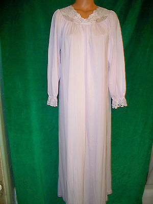 Shadowline very Vintage light pink nylon long gown  sz S bust about 37-38 NICE