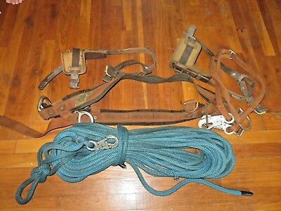 Climbing Saddle With Safty Strap, Pole Spurs & Approx. 100 ' Rope With Snap