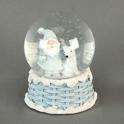 Hand Painted Santa & Reindeer Figurine Christmas Snow Globe Winter Wonderland