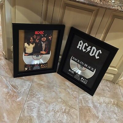 2 VERY RARE! AC/DC Platinum Record Album Disc Music Award Back To Black RIAA
