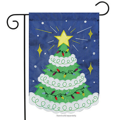 """Christmas Tree Applique Garden Flag Star Holiday Double Sided Star 13"""" x 18"""""""
