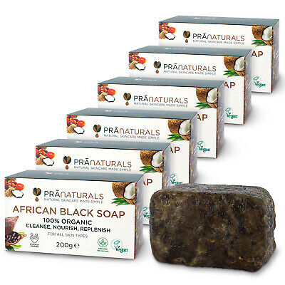 PraNaturals Pack of 6 Organic African Black Soap Face Body Anti-Ageing 200g Bar