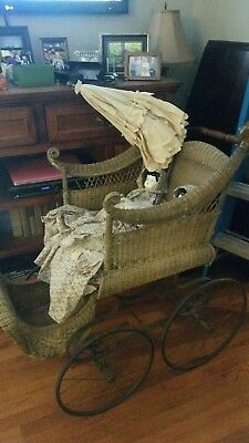 1800's Antique Victorian Baby Carriage / Pram with Parasol