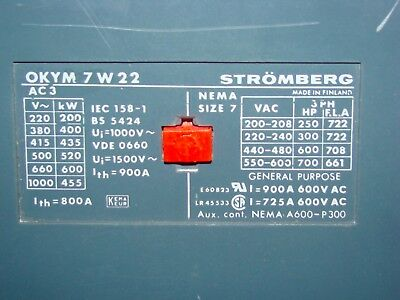 Stromberg OKYM7W22 Contactor, 810A, Size 7, 120VAC Coil, New
