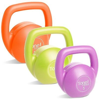 (14kg Set, Set with DVD) - Tone Fitness Vinyl Kettlebell. Shipping is Free