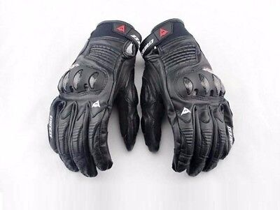 New Black Full Finger Short Cuff Bike Riders Dainese Motorcycle Leather Gloves
