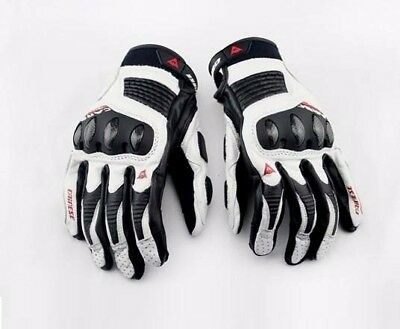 New White Full Finger Short Cuff Bike Riders Dainese Motorcycle Leather Gloves