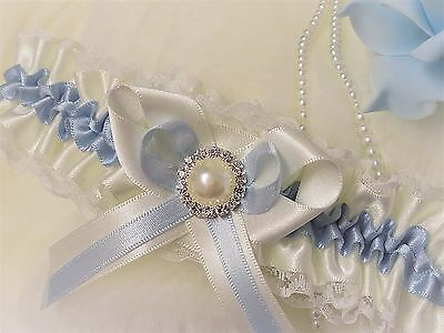 Luxury Satin & Lace Bridal Garter. White/Ivory with blue trim. Diamante & Pearl