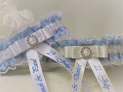 Luxury Personalised Bridal Garter. White/Ivory with Blue trim. Diamante buckle