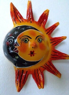 Mexican Folk Art Hand Painted Coconut Shell Mask Sun Moon Wall Art