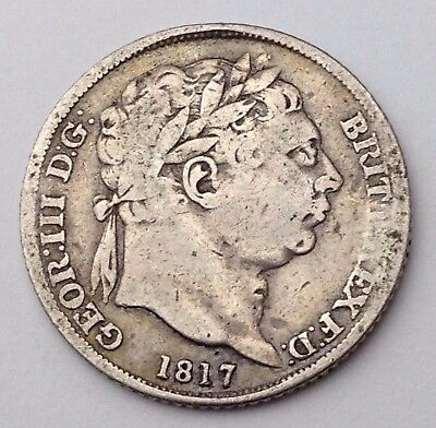 Dated : 1817 - Silver Coin - Sixpence / 6d - King George III - Great Britain