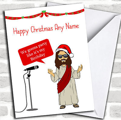FUNNY JESUS PARTY Christmas Customised Card