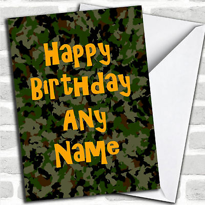 Camouflage Army Soldier Personalised Birthday Greetings Card 349