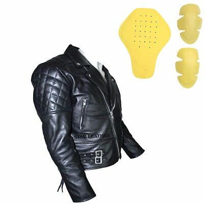 Mens Premium Quality Ce Armour Motorcycle Motorbike Plus Size Cow Leather Jacket