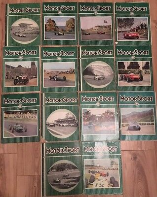 """14 Issues Vintage """"Motor Sport"""" Magazine, 1960s Car Racing, Great Retro Adverts"""
