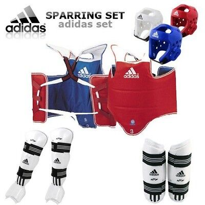 (Small, Blue) - [GTE Zone] Adidas TKD WTF Approved TAEKWONDO Sparring Gear Set