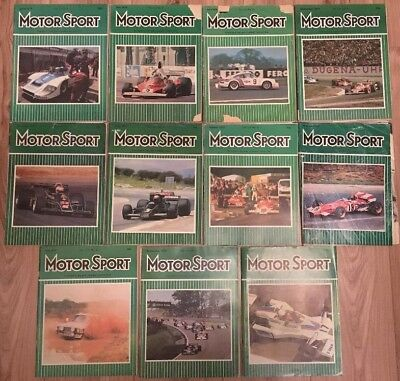 """11 Issues Vintage """"Motor Sport"""" Magazine, 1970s Car Racing, Great Retro Adverts"""