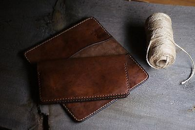 Handcrafted Brown Aged Leather Checkbook Cover