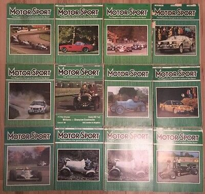 """12 Issues Vintage """"Motor Sport"""" Magazine, 1980s Car Racing, Great Retro Adverts"""
