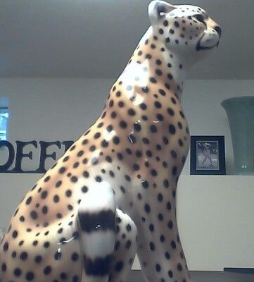 """20"""" tall Scully and Scully Porcelain Cheetah Made in Italy"""