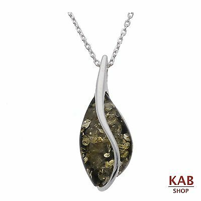 GREEN BALTIC AMBER STERLING SILVER 925 BEAUTY PENDANT+chain. KAB-101