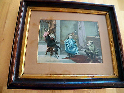 Rare Antique Framed Hand Colored Photograph Children in the Parlor Great Cond