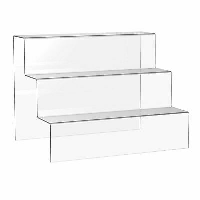 3 Step Display Acrylic Retail Riser/bridge clear black or white choice 4 sizes