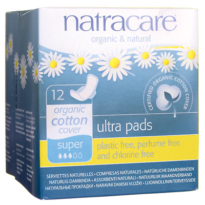 Natracare Organic Cotton Cover Ultra Pads - Super 12 Ct