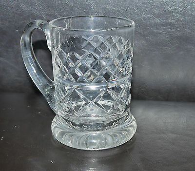 SUPERB Vintage Cut Glass Crystal Tankard - 11 cm Tall Heavy! Quality Excellent!