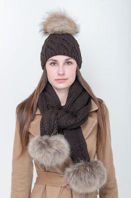New Ladies Wooly thick knit hat scarf pom pom womens scarf and hat set