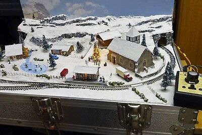 Christmas Briefcase Layout 2017 With Train By Mountain Lake Model Railways