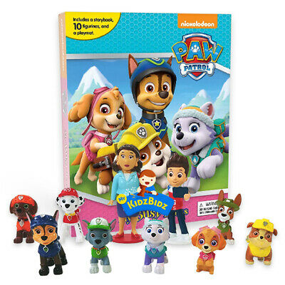 Nickelodeon Paw Patrol Girls Set Of 12 Figures & My Busy Book & Map