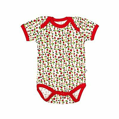 100% Organic Cotton Baby Short Sleeve Body by Organicera - Tulip design