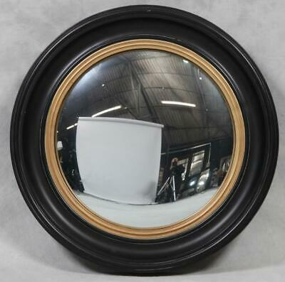 Wooden Black & Gold Moulded Frame Convex Fisheye Porthole Mirror 54cm