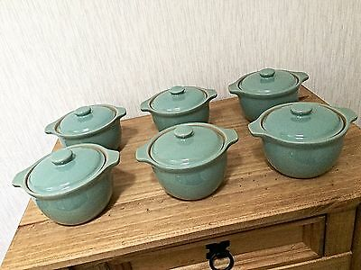 Denby MANOR GREEN Casserole Dishes Individual Cooking Oven Dishes Set Of Six 6