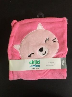 NEW Child Of Mine by Carter's Hooded Pink Cat Bath Wrap  Baby Bath Towel