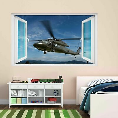 Military Air Force Transport Helicopter Wall Sticker Mural Decal Kids Room DE17