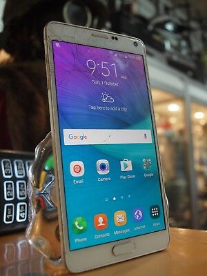 Samsung Galaxy Note 4 (Sm-N910G) Smartphone In White - 32Gb / Cracked Screen !